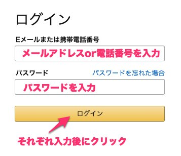 Amazonにログイン