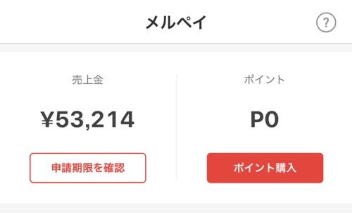 メルカリで5万円稼いだ画面